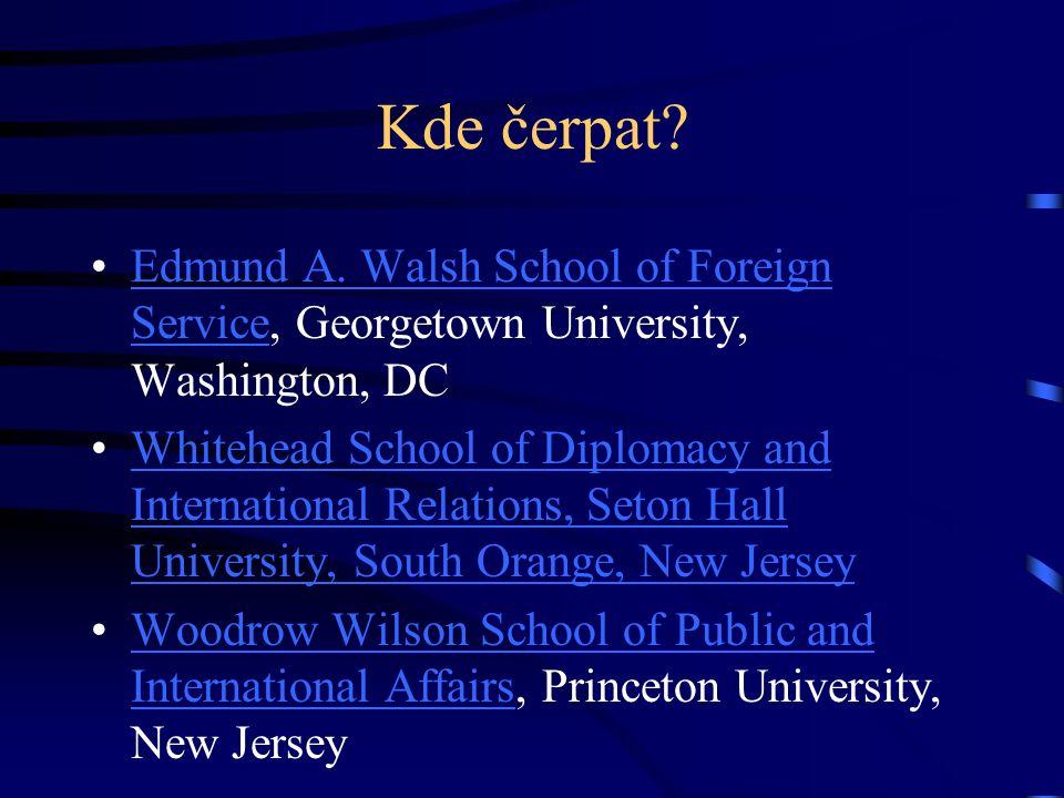 Kde čerpat? Edmund A. Walsh School of Foreign Service, Georgetown University, Washington, DCEdmund A. Walsh School of Foreign Service Whitehead School