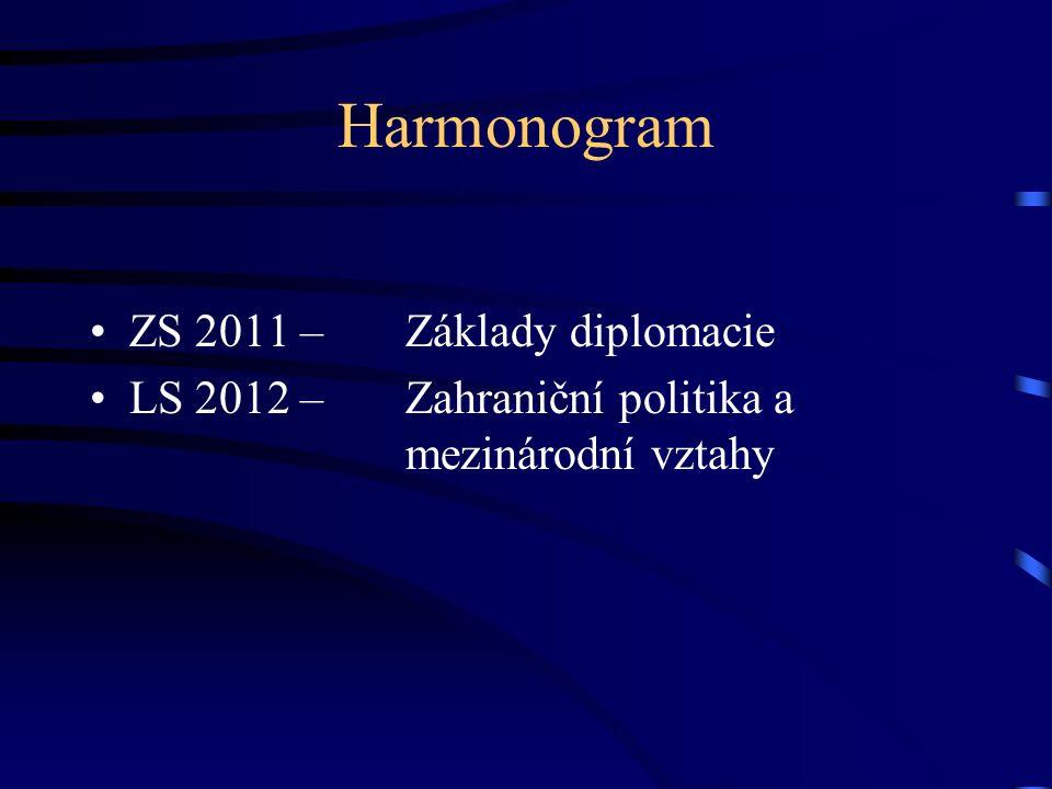 Harmonogram ZS 2011 –Základy diplomacie LS 2012 –Zahraniční politika a mezinárodní vztahy