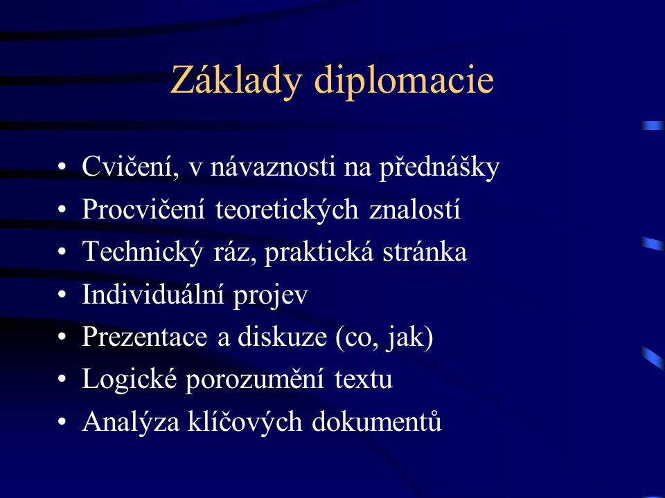 Základy diplomacie Cvičení, v návaznosti na přednášky Procvičení teoretických znalostí Technický ráz, praktická stránka Individuální projev Prezentace