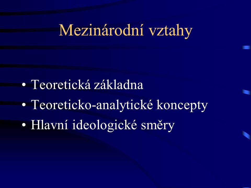 Mezinárodní vztahy Teoretická základna Teoreticko-analytické koncepty Hlavní ideologické směry