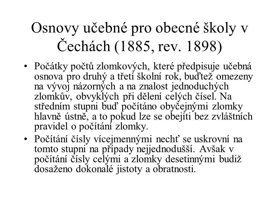Osnovy učebné pro obecné školy v Čechách (1885, rev.
