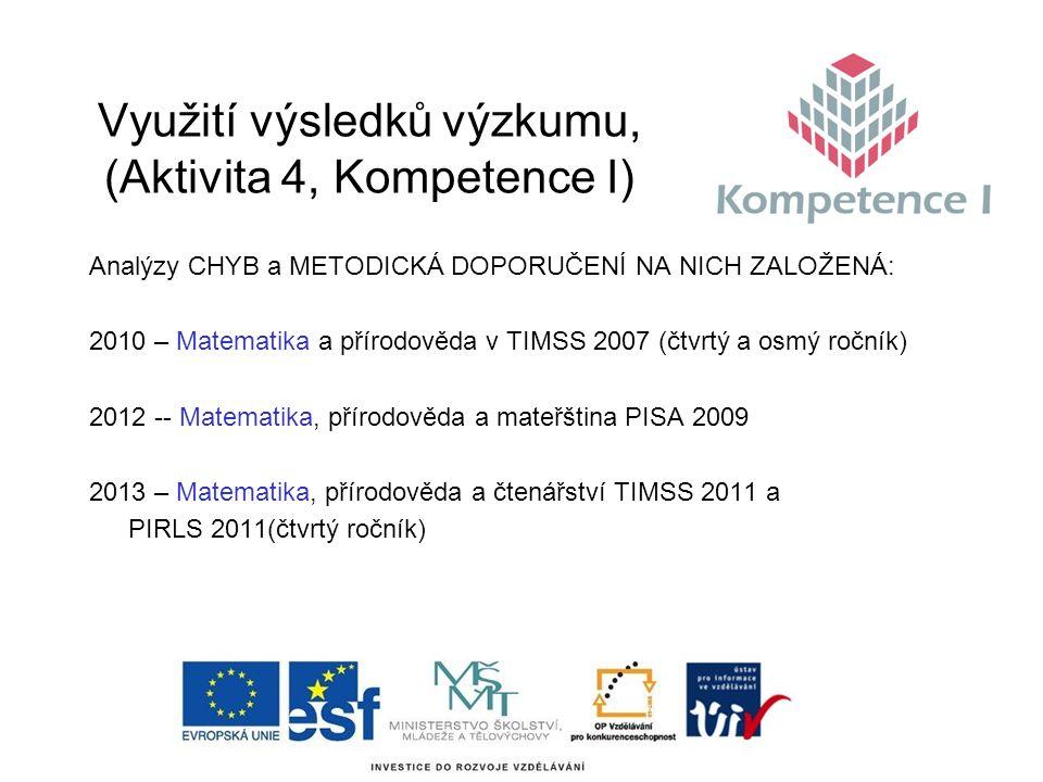 Využití výsledků výzkumu, (Aktivita 4, Kompetence I) Analýzy CHYB a METODICKÁ DOPORUČENÍ NA NICH ZALOŽENÁ: 2010 – Matematika a přírodověda v TIMSS 2007 (čtvrtý a osmý ročník) 2012 -- Matematika, přírodověda a mateřština PISA 2009 2013 – Matematika, přírodověda a čtenářství TIMSS 2011 a PIRLS 2011(čtvrtý ročník)