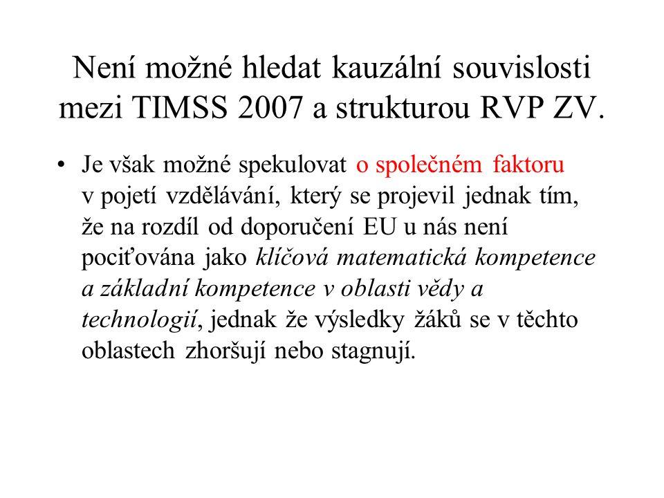 Není možné hledat kauzální souvislosti mezi TIMSS 2007 a strukturou RVP ZV.