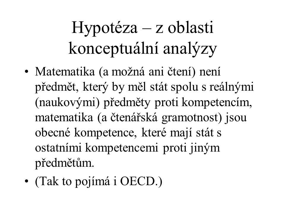 Hypotéza – z oblasti konceptuální analýzy Matematika (a možná ani čtení) není předmět, který by měl stát spolu s reálnými (naukovými) předměty proti kompetencím, matematika (a čtenářská gramotnost) jsou obecné kompetence, které mají stát s ostatními kompetencemi proti jiným předmětům.