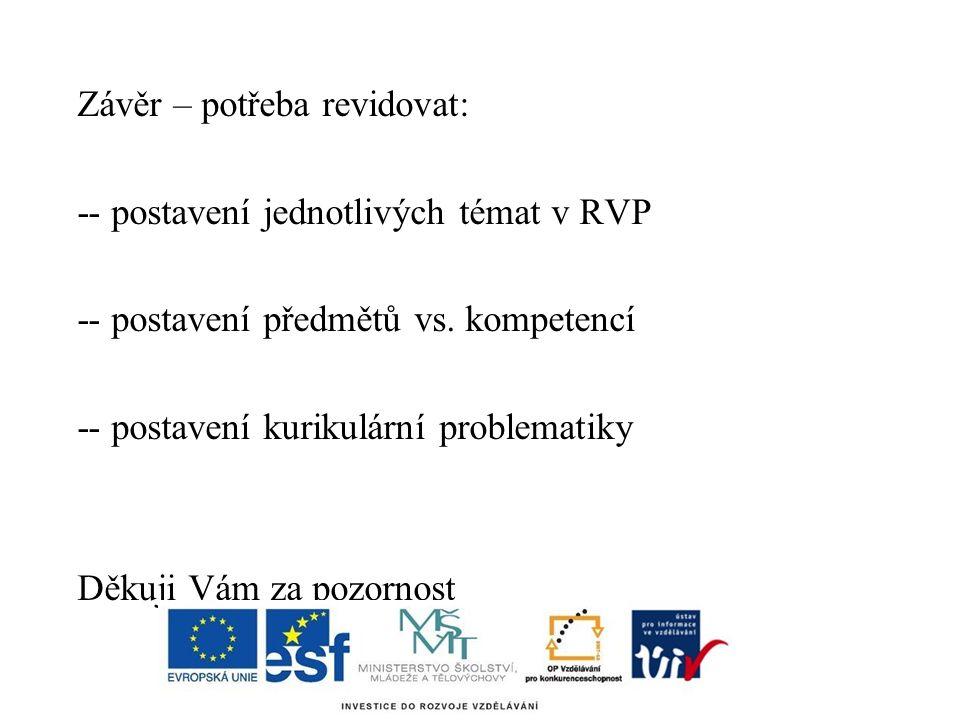 Závěr – potřeba revidovat: -- postavení jednotlivých témat v RVP -- postavení předmětů vs.