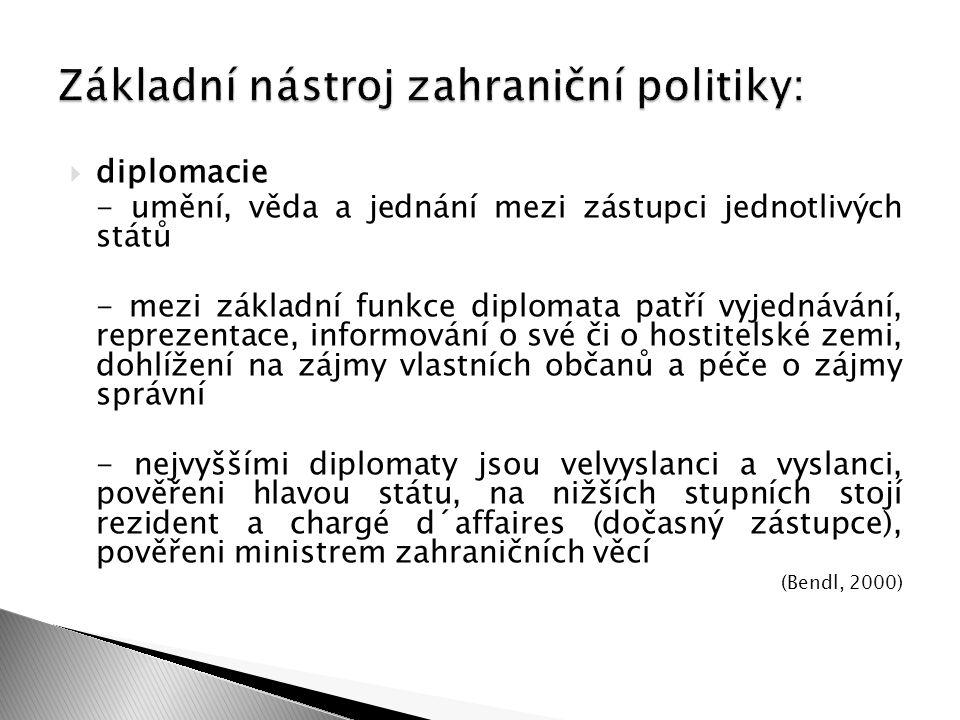  diplomacie - umění, věda a jednání mezi zástupci jednotlivých států - mezi základní funkce diplomata patří vyjednávání, reprezentace, informování o
