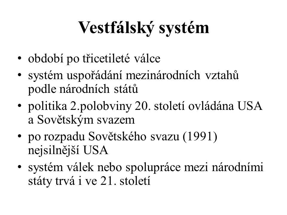 Vestfálský systém období po třicetileté válce systém uspořádání mezinárodních vztahů podle národních států politika 2.polobviny 20.