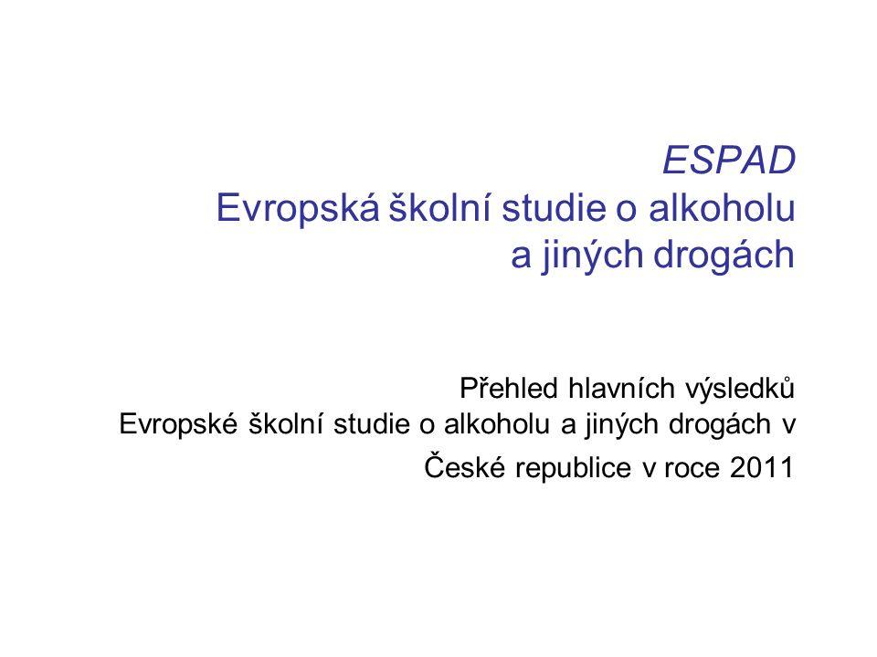 ESPAD Evropská školní studie o alkoholu a jiných drogách Přehled hlavních výsledků Evropské školní studie o alkoholu a jiných drogách v České republice v roce 2011