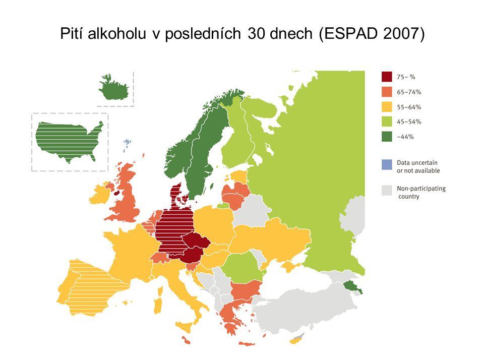 Pití alkoholu v posledních 30 dnech (ESPAD 2007)