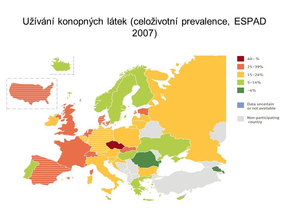 Užívání konopných látek (celoživotní prevalence, ESPAD 2007)