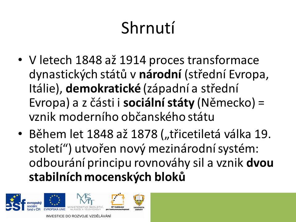Shrnutí V letech 1848 až 1914 proces transformace dynastických států v národní (střední Evropa, Itálie), demokratické (západní a střední Evropa) a z č