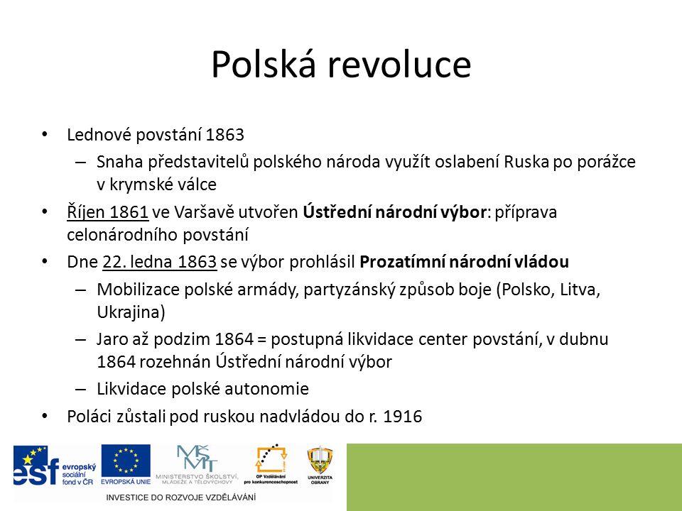 Polská revoluce Lednové povstání 1863 – Snaha představitelů polského národa využít oslabení Ruska po porážce v krymské válce Říjen 1861 ve Varšavě utvořen Ústřední národní výbor: příprava celonárodního povstání Dne 22.