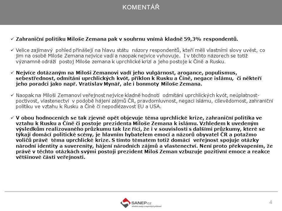 5 KOMENTÁŘ Jak ukazují průzkumy prováděné od volby a zvolení hlavy státu, Miloš Zeman dokáže v rámci naší společnosti vyvolávat silné emoce, a to jak negativní, tak pozitivní.