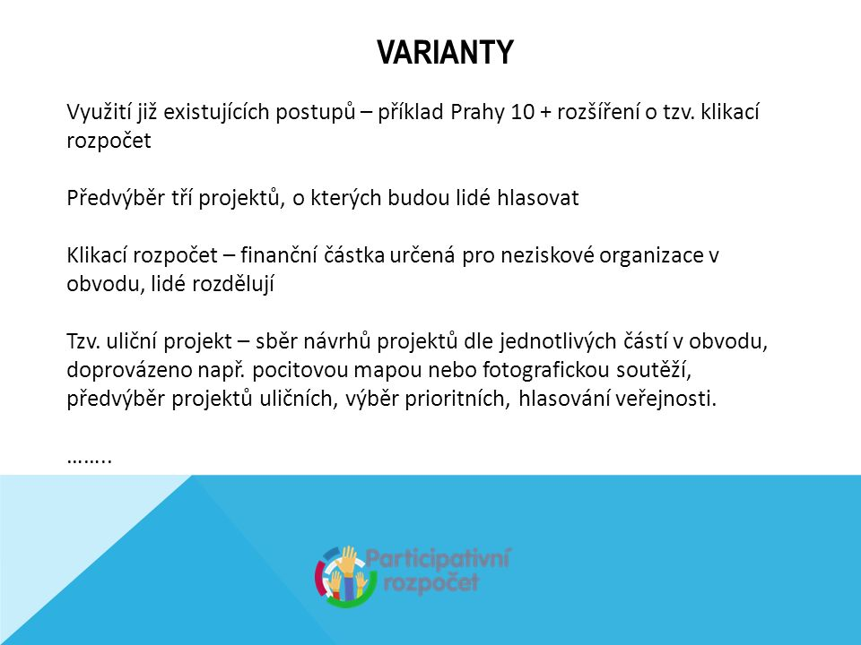 VARIANTY Využití již existujících postupů – příklad Prahy 10 + rozšíření o tzv.