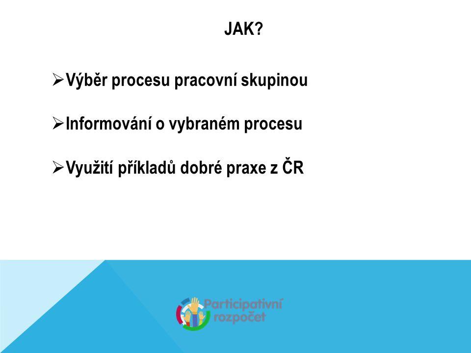 JAK?  Výběr procesu pracovní skupinou  Informování o vybraném procesu  Využití příkladů dobré praxe z ČR