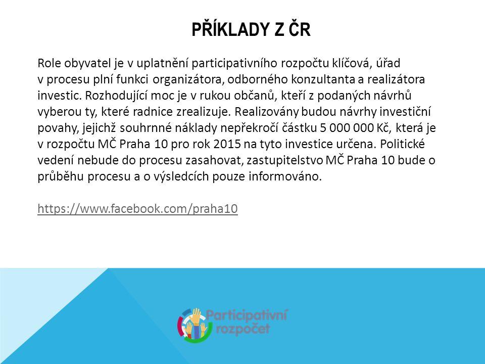 PŘÍKLADY Z ČR Role obyvatel je v uplatnění participativního rozpočtu klíčová, úřad v procesu plní funkci organizátora, odborného konzultanta a realizátora investic.