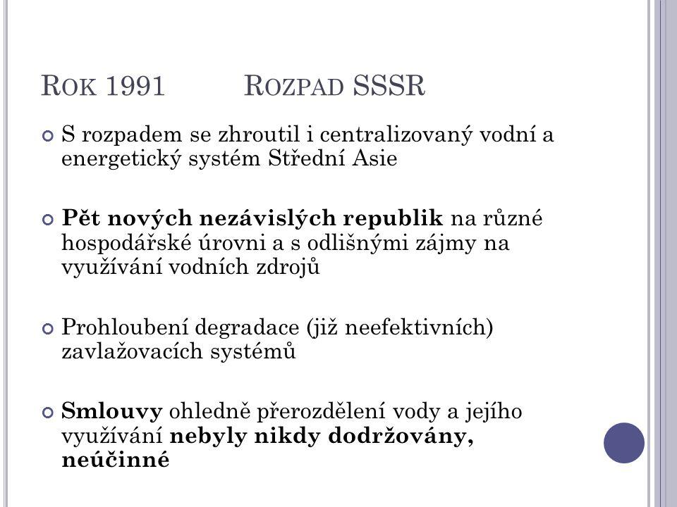R OK 1991R OZPAD SSSR S rozpadem se zhroutil i centralizovaný vodní a energetický systém Střední Asie Pět nových nezávislých republik na různé hospodářské úrovni a s odlišnými zájmy na využívání vodních zdrojů Prohloubení degradace (již neefektivních) zavlažovacích systémů Smlouvy ohledně přerozdělení vody a jejího využívání nebyly nikdy dodržovány, neúčinné