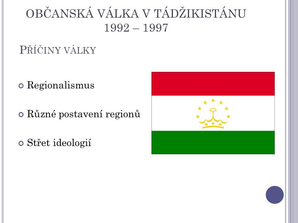 P ŘÍČINY VÁLKY Regionalismus Různé postavení regionů Střet ideologií OBČANSKÁ VÁLKA V TÁDŽIKISTÁNU 1992 – 1997