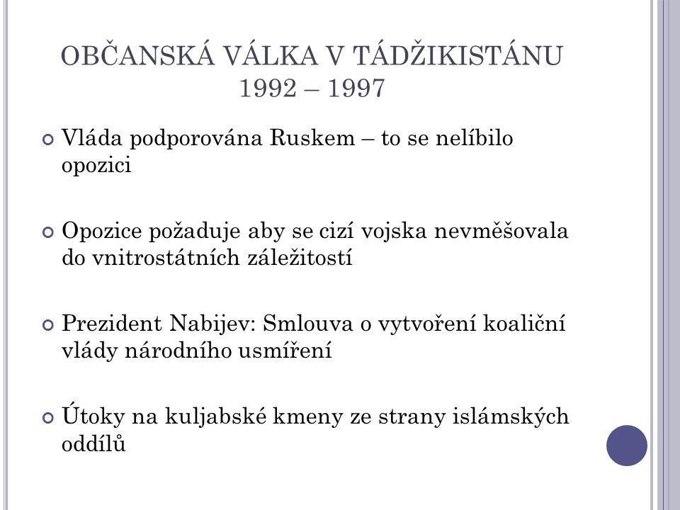 Vláda podporována Ruskem – to se nelíbilo opozici Opozice požaduje aby se cizí vojska nevměšovala do vnitrostátních záležitostí Prezident Nabijev: Smlouva o vytvoření koaliční vlády národního usmíření Útoky na kuljabské kmeny ze strany islámských oddílů OBČANSKÁ VÁLKA V TÁDŽIKISTÁNU 1992 – 1997