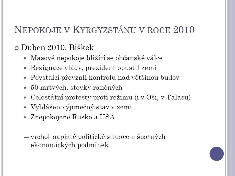 N EPOKOJE V K YRGYZSTÁNU V ROCE 2010 Duben 2010, Biškek Masové nepokoje blížící se občanské válce Rezignace vlády, prezident opustil zemi Povstalci př