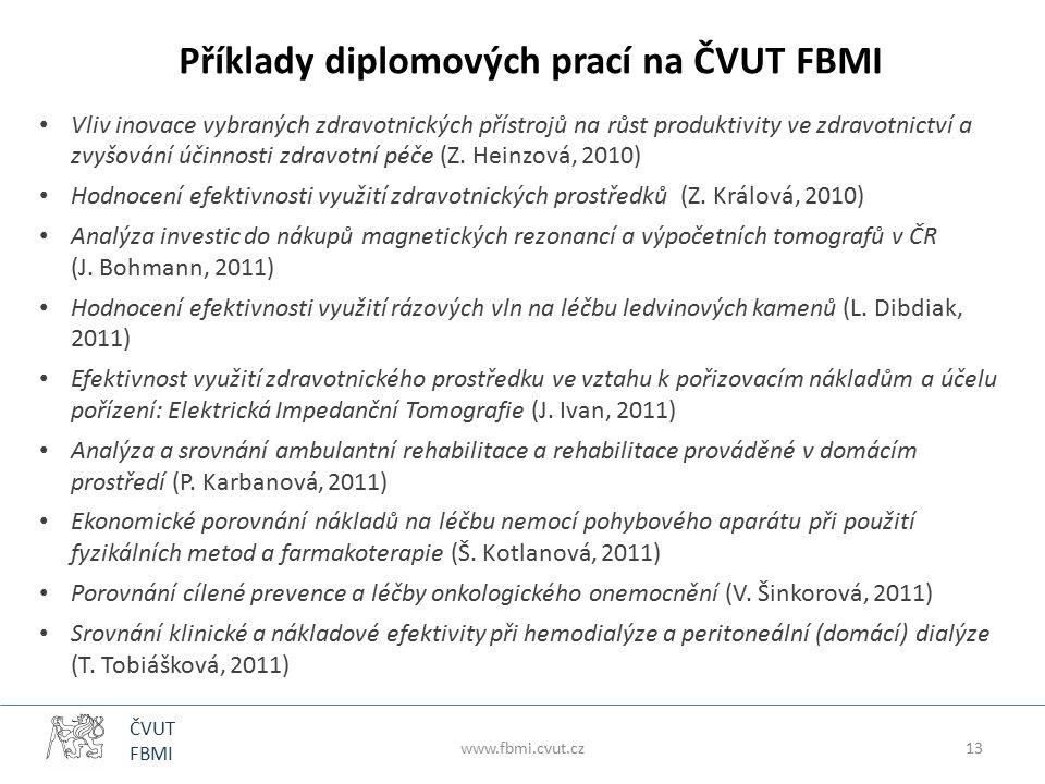 ČVUT FBMI Příklady diplomových prací na ČVUT FBMI Vliv inovace vybraných zdravotnických přístrojů na růst produktivity ve zdravotnictví a zvyšování účinnosti zdravotní péče (Z.
