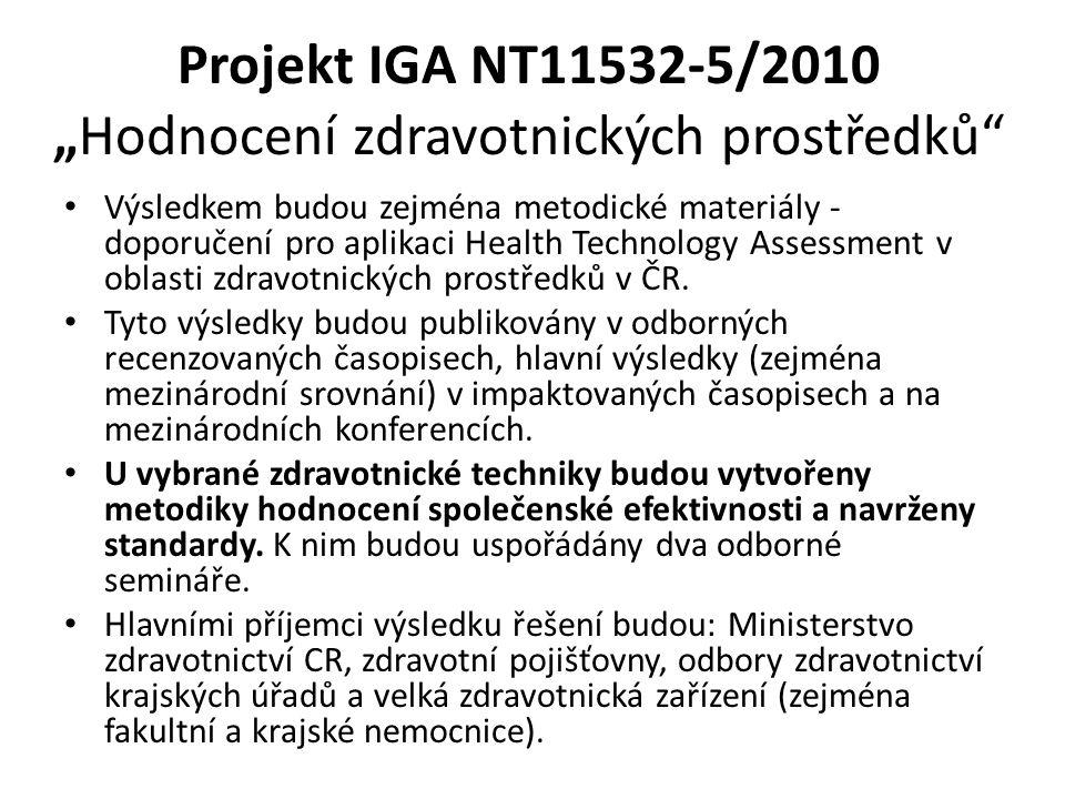 """Projekt IGA NT11532-5/2010 """"Hodnocení zdravotnických prostředků Výsledkem budou zejména metodické materiály - doporučení pro aplikaci Health Technology Assessment v oblasti zdravotnických prostředků v ČR."""