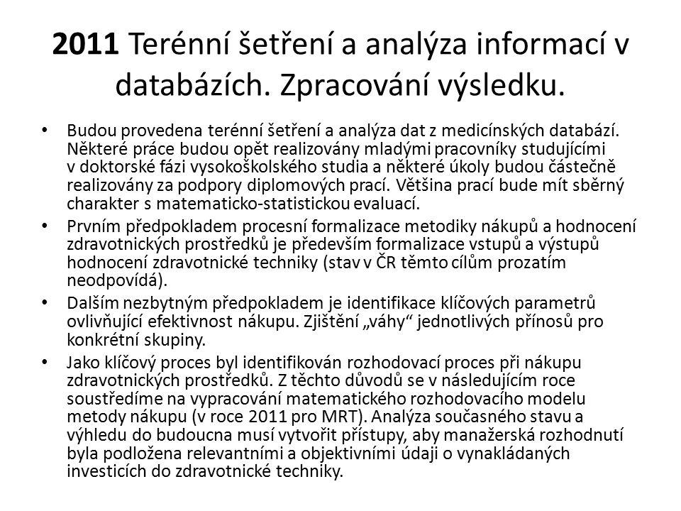 2011 Terénní šetření a analýza informací v databázích. Zpracování výsledku. Budou provedena terénní šetření a analýza dat z medicínských databází. Něk
