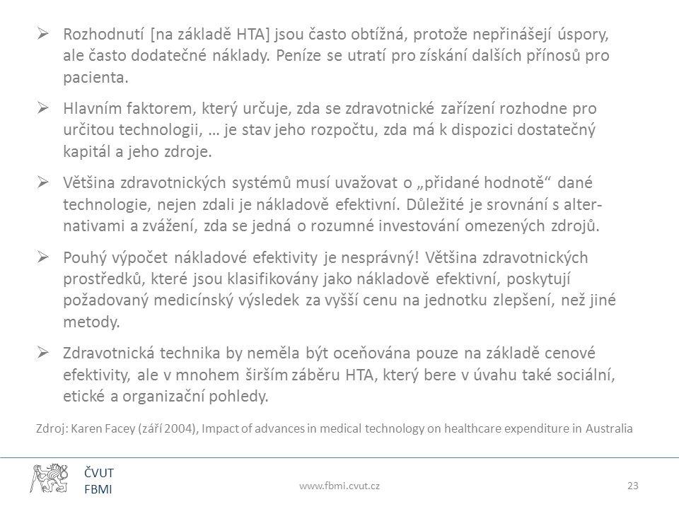 ČVUT FBMI www.fbmi.cvut.cz23  Rozhodnutí [na základě HTA] jsou často obtížná, protože nepřinášejí úspory, ale často dodatečné náklady. Peníze se utra