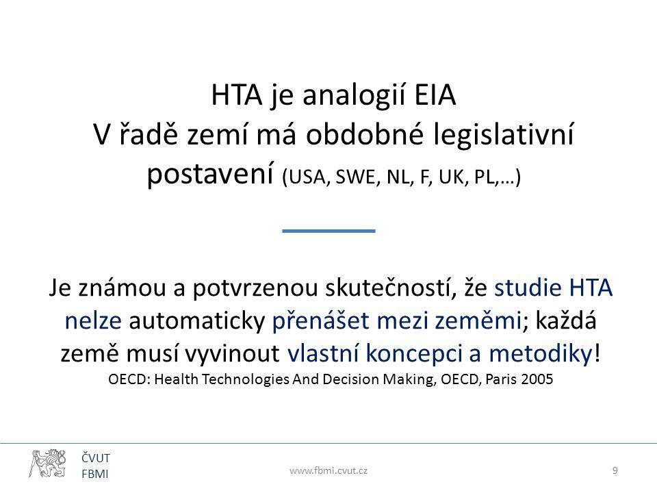 ČVUT FBMI HTA je analogií EIA V řadě zemí má obdobné legislativní postavení (USA, SWE, NL, F, UK, PL,…) Je známou a potvrzenou skutečností, že studie HTA nelze automaticky přenášet mezi zeměmi; každá země musí vyvinout vlastní koncepci a metodiky.
