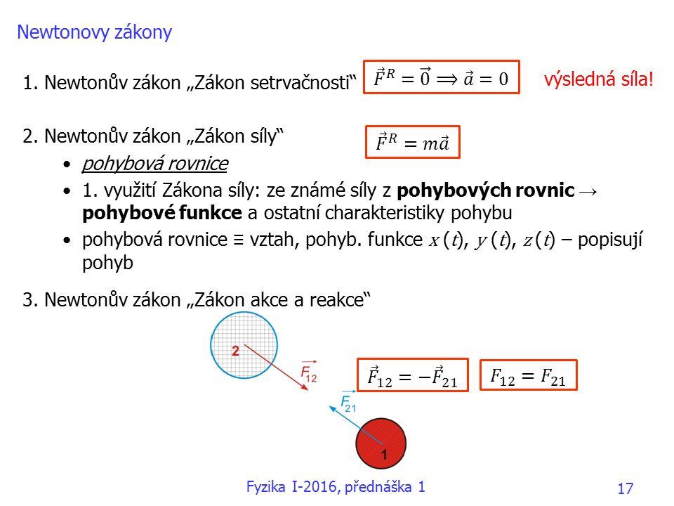 """1. Newtonův zákon """"Zákon setrvačnosti 2. Newtonův zákon """"Zákon síly pohybová rovnice 1."""