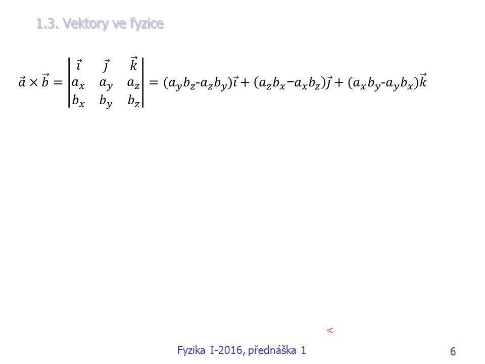 1.3. Vektory ve fyzice < Fyzika I-2016, přednáška 1 6