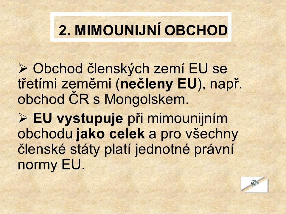 2. MIMOUNIJNÍ OBCHOD  Obchod členských zemí EU se třetími zeměmi (nečleny EU), např.