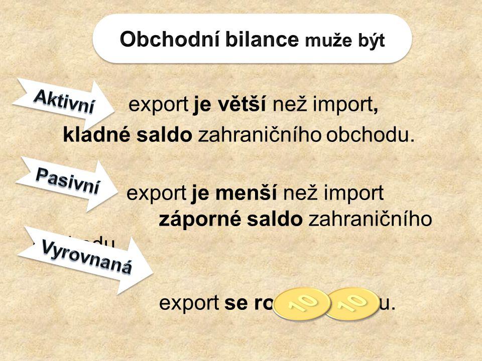 export je větší než import, kladné saldo zahraničního obchodu.