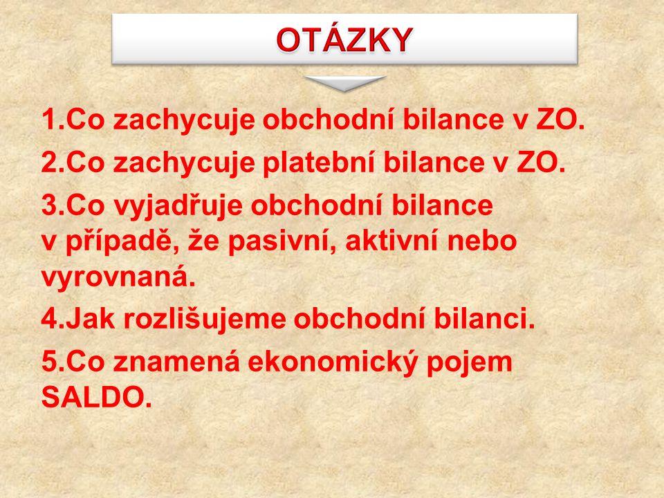 1.Co zachycuje obchodní bilance v ZO. 2.Co zachycuje platební bilance v ZO.
