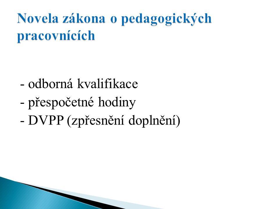 - odborná kvalifikace - přespočetné hodiny - DVPP (zpřesnění doplnění)