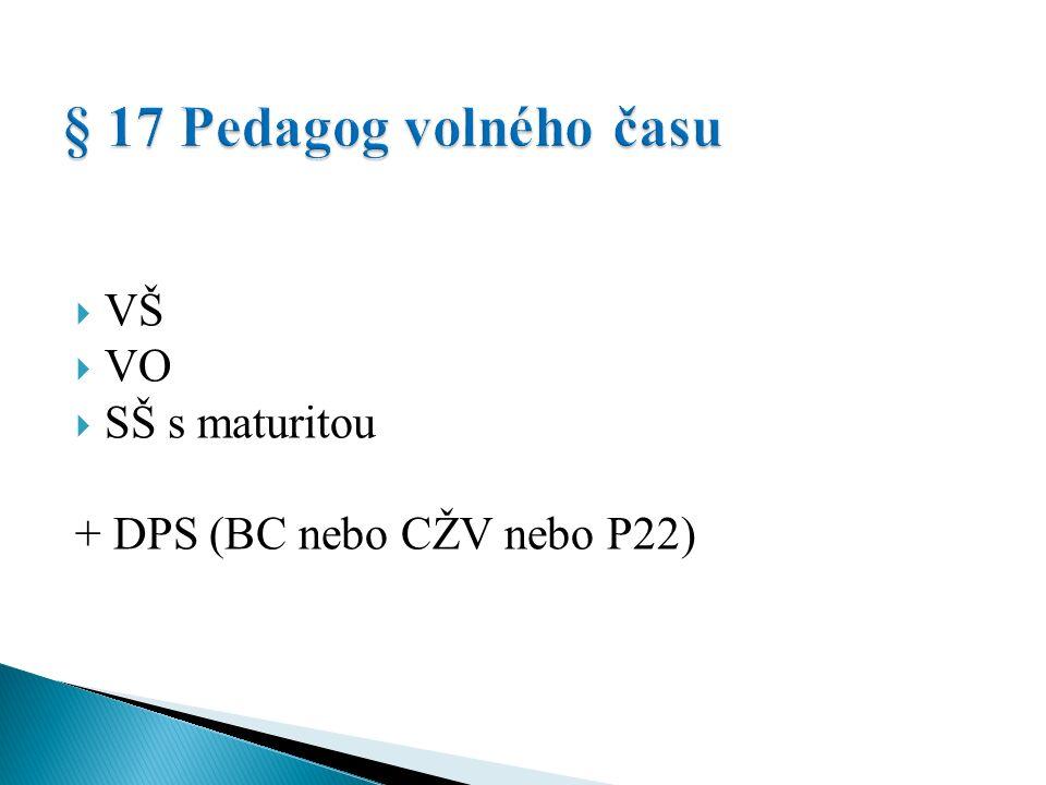  VŠ  VO  SŠ s maturitou + DPS (BC nebo CŽV nebo P22)