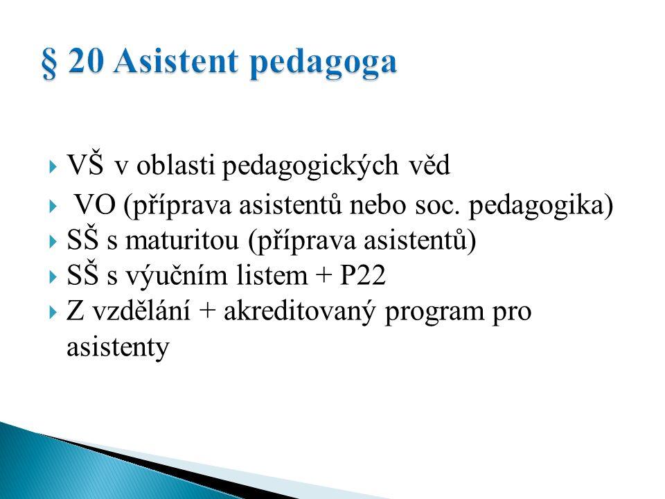  VŠ v oblasti pedagogických věd  VO (příprava asistentů nebo soc.