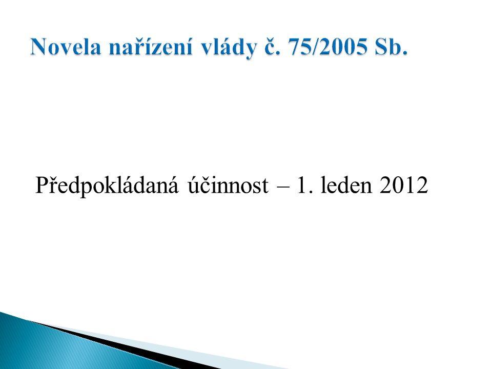 Předpokládaná účinnost – 1. leden 2012