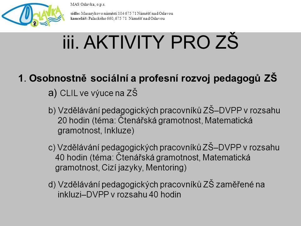 1. Osobnostně sociální a profesní rozvoj pedagogů ZŠ a) CLIL ve výuce na ZŠ b) Vzdělávání pedagogických pracovníků ZŠ–DVPP v rozsahu 20 hodin (téma: Č