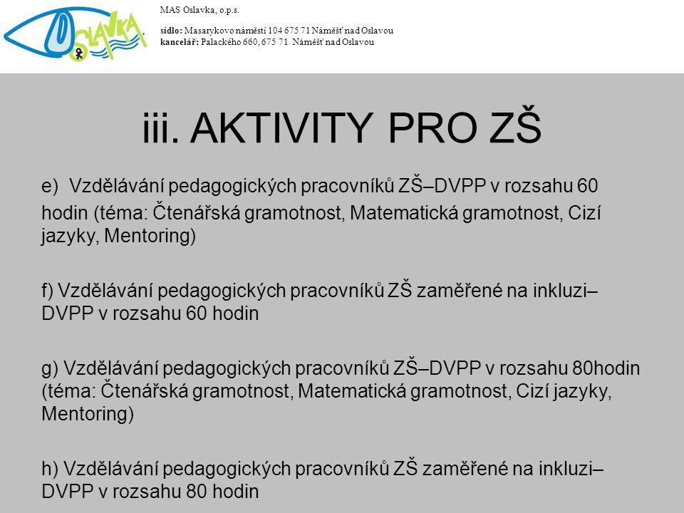e) Vzdělávání pedagogických pracovníků ZŠ–DVPP v rozsahu 60 hodin (téma: Čtenářská gramotnost, Matematická gramotnost, Cizí jazyky, Mentoring) f) Vzdělávání pedagogických pracovníků ZŠ zaměřené na inkluzi– DVPP v rozsahu 60 hodin g) Vzdělávání pedagogických pracovníků ZŠ–DVPP v rozsahu 80hodin (téma: Čtenářská gramotnost, Matematická gramotnost, Cizí jazyky, Mentoring) h) Vzdělávání pedagogických pracovníků ZŠ zaměřené na inkluzi– DVPP v rozsahu 80 hodin MAS Oslavka, o.p.s.