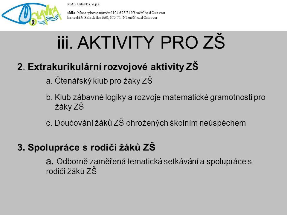 2. Extrakurikulární rozvojové aktivity ZŠ a. Čtenářský klub pro žáky ZŠ b.