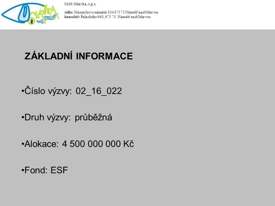 ZÁKLADNÍ INFORMACE Číslo výzvy: 02_16_022 Druh výzvy: průběžná Alokace: 4 500 000 000 Kč Fond: ESF MAS Oslavka, o.p.s. sídlo: Masarykovo náměstí 104 6