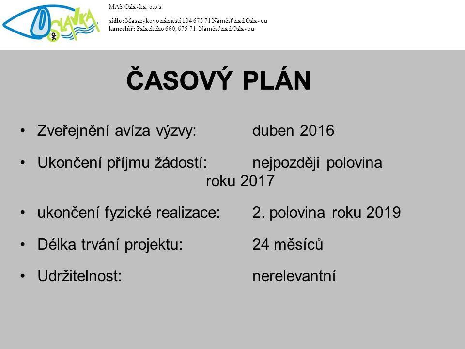Zveřejnění avíza výzvy: duben 2016 Ukončení příjmu žádostí: nejpozději polovina roku 2017 ukončení fyzické realizace: 2. polovina roku 2019 Délka trvá