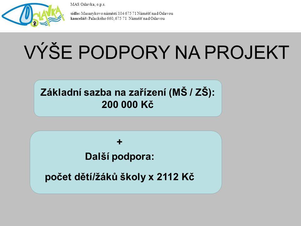 Případ MŠ+ZŠ (vedené pod jedním IČO): 200 000 Kč za MŠ + 200 000 Kč za ZŠ = 400 000 Kč + (počet dětí/žáků školy x 2112 Kč) MAS Oslavka, o.p.s.