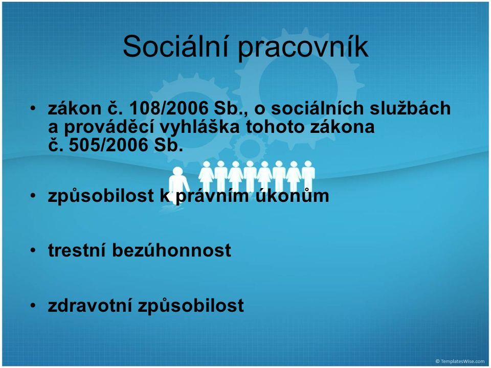 Sociální pracovník zákon č. 108/2006 Sb., o sociálních službách a prováděcí vyhláška tohoto zákona č. 505/2006 Sb. způsobilost k právním úkonům trestn