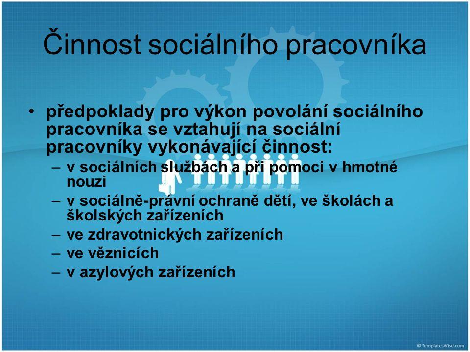 Činnost sociálního pracovníka předpoklady pro výkon povolání sociálního pracovníka se vztahují na sociální pracovníky vykonávající činnost: –v sociáln