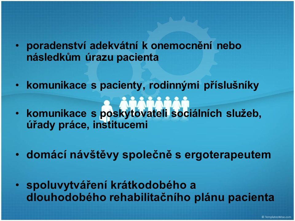poradenství adekvátní k onemocnění nebo následkům úrazu pacienta komunikace s pacienty, rodinnými příslušníky komunikace s poskytovateli sociálních služeb, úřady práce, institucemi domácí návštěvy společně s ergoterapeutem spoluvytváření krátkodobého a dlouhodobého rehabilitačního plánu pacienta