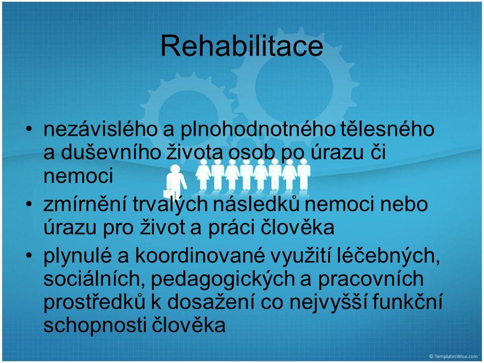 Rehabilitace nezávislého a plnohodnotného tělesného a duševního života osob po úrazu či nemoci zmírnění trvalých následků nemoci nebo úrazu pro život a práci člověka plynulé a koordinované využití léčebných, sociálních, pedagogických a pracovních prostředků k dosažení co nejvyšší funkční schopnosti člověka