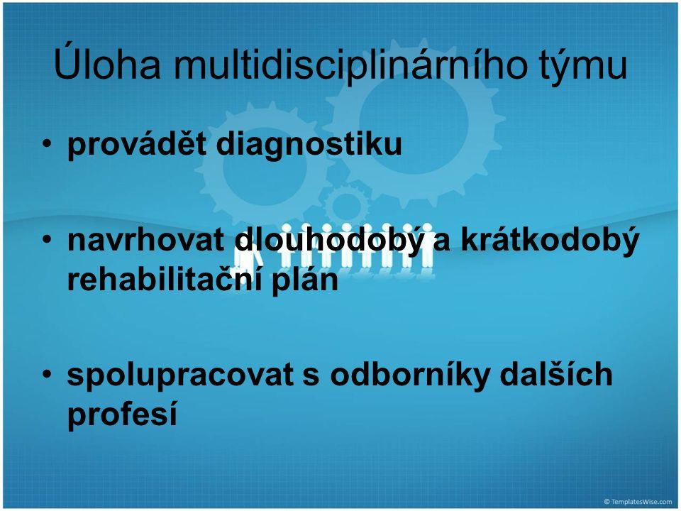 provádět diagnostiku navrhovat dlouhodobý a krátkodobý rehabilitační plán spolupracovat s odborníky dalších profesí Úloha multidisciplinárního týmu