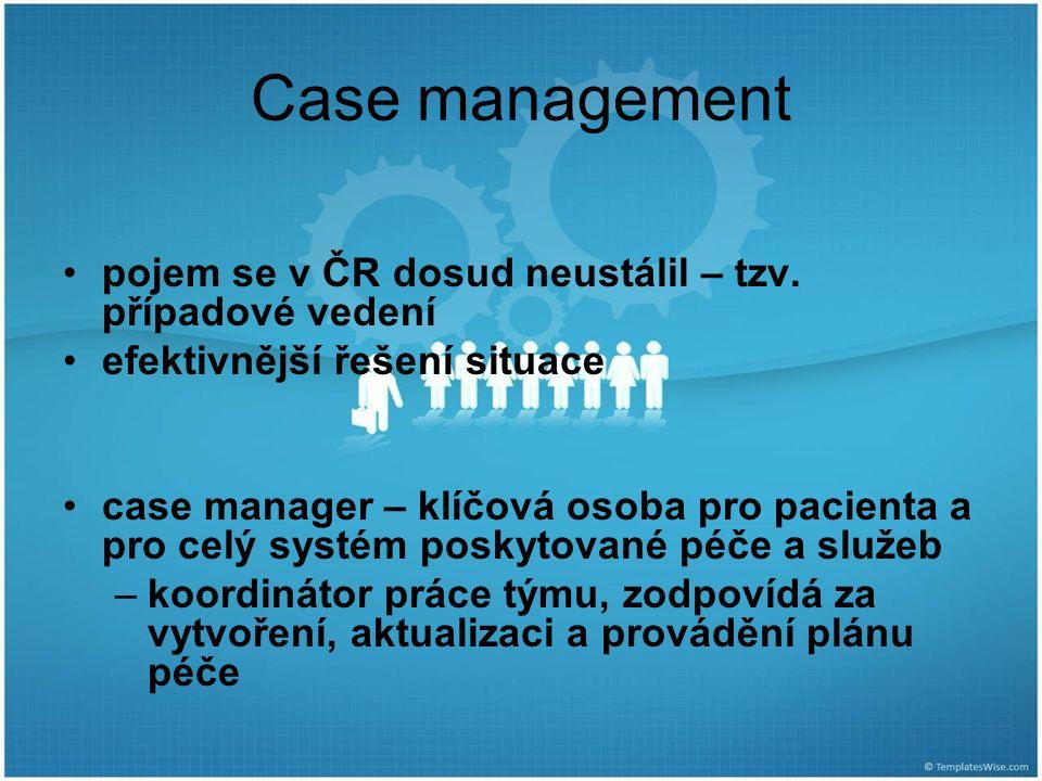 Case management pojem se v ČR dosud neustálil – tzv. případové vedení efektivnější řešení situace case manager – klíčová osoba pro pacienta a pro celý